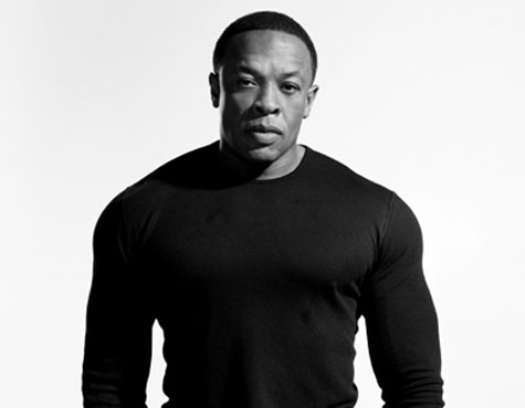 Black and white photo of dr. dre