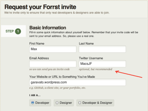 Signing up for Forrst