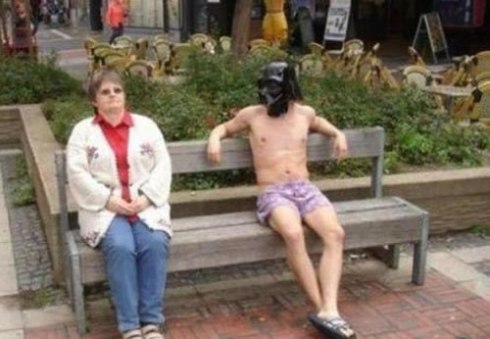 guy naked and darth vader making woman uncomfortable